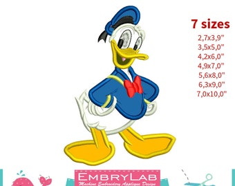 Applique Donald Duck. Mickey Mouse and Friends. Machine Embroidery Applique Design (16286)