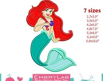 Applique Ariel. The Little Mermaid. Machine Embroidery Applique Design. Instant Digital Download (16299)