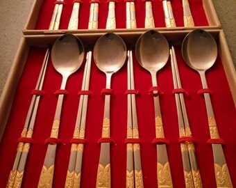 Vintage Traditional Korean Chopstick and Spoon Set Stainless Steel with Gold Tone Accents