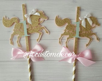Carousel Horse Centerpiece-Carousel Theme Birthday-Pink Gold Mint Birthday-Pink gold baby shower -Carousel Birthday Centerpiece-Mint Carouse