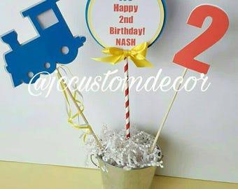 Train Theme Centerpiece-Birthday Train Centerpiece-Train Birthday-Train Birthday Centerpiece-Choo Choo Birthday Centerpiece