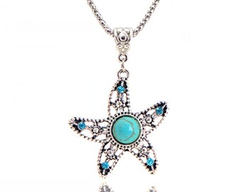 Tibetan Silver Turquoise Starfish Necklace, Turquoise Necklace, Valentines Day Gift for Her, Birthday Necklace