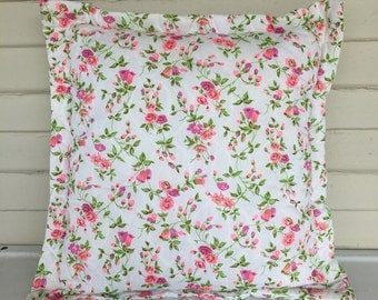 Vintage Pink Floral Throw Pillow