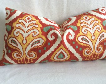 "Large Ikat Lumbar Pillow Cover - Richloom ""Zanzibar"" Fabric - Red/ Gold/ Turquoise - 14x26 Lumbar Cover"