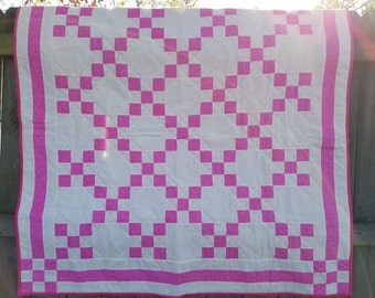 Pink and Cream Irish Chain Quilt // Pink Baby Quilt // Handmade