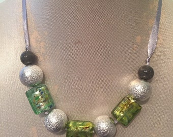 Silver Green and Charcoal Beaded Ribbon Necklace