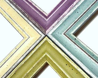 Set of 2 - Rustic Distressed COLORED Picture Frames, Mix & Match: Purple, White, Green, Blue,4x6,5x7,9x9,5x10,8x10,10x12,11x14