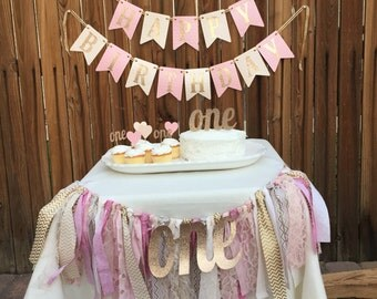 Pink and Gold Happy Birthday Banner, Pink and Gold Birthday, Pink and Gold Birthday Banner, 1st Birthday Banner, Pink Girl Birthday Banner