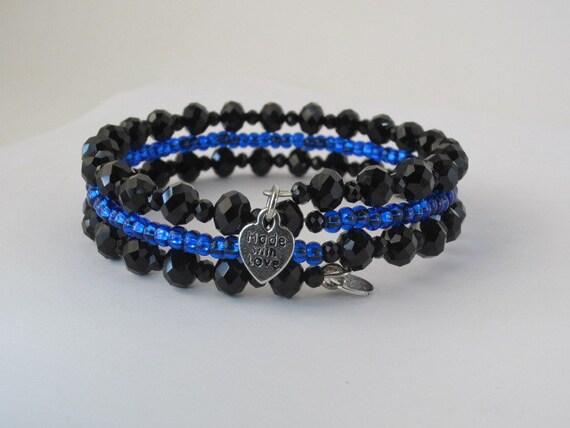 thin blue line jewelry law enforcement support bracelet. Black Bedroom Furniture Sets. Home Design Ideas