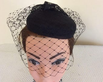 Black Mini Hat with veil