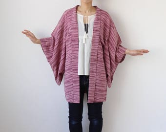 kimono cardigan, Haori, Japanese kimono, stripe, lounge wear /1595