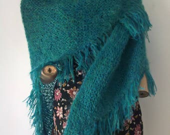Handmade Vintage 70s/80s green tones Mohair Shawl or Wrap