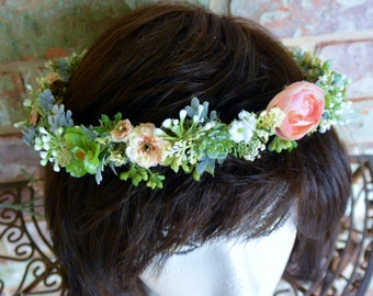 Salmon Succulent  Flower Crown