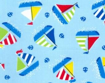 Blue Boats cotton poplin print