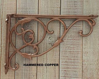 Iron Brackets, EXTRA LARGE, Shelf Brackets, Rustic, Supports, Display Shelf, Book Shelf, Cast Iron, Sold Individually, Copper Color, Supply