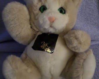 "Specials Effects Cat plush 24 K Polar Puff named Crissy Smashing Green eyes light brown white NWVWT   9"" Dated 1989"