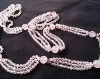 Rose Quartz Triple Strand Bead Necklace