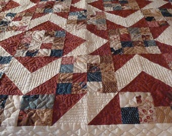 Twin, Youth or Lap Handmade Quilt in red, beige, navy, brown Moda Sticks and Stones Fabric