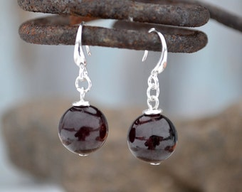 Dark red garnet earrings, Garnet earrings, Garnet silver earrings, Dark garnet silver earrings, Garnet drop earrings, Black garnet earrings.