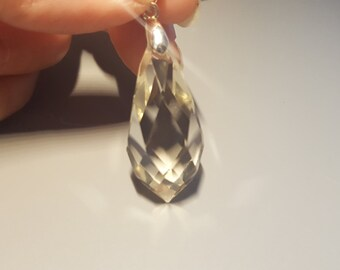 Crystal faceted rock AAA quality and silver pendant
