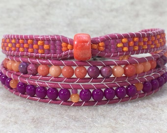 Orange Berry Crush Triple Wrap Beaded Bracelet