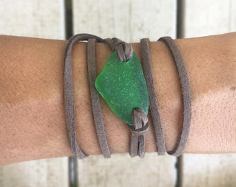 Green Sea Glass and Brown Leather Bracelet Wrap