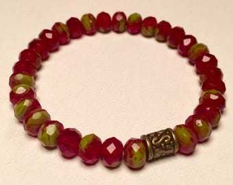 Faceted Red Glass w/ Yellow Fade Design and Bronze detail in 8mm