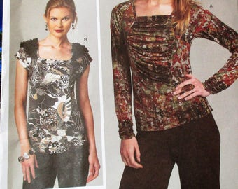 Vogue Pattern, V1275, Misses top, long sleeve close fitting top, ruched misses top, short sleeve top, Sz: One size
