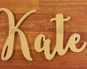 Custom wooden name cursive script fun font
