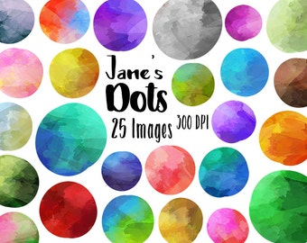 Watercolor Circles Clipart - Dots Download - Instant Download - Colorful Spots - Shapes - Commercial Use
