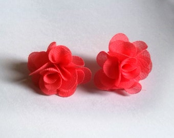 Beautiful Soft Pink Flower Earring, screw back