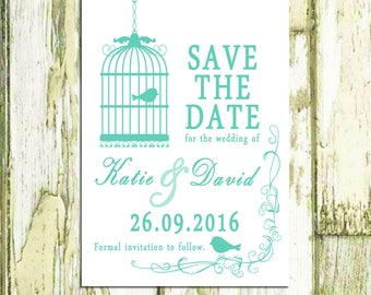 Printable Save the Date / Love Birds Save the Date / Birdcage Save the Date / Custom Made Save the Date