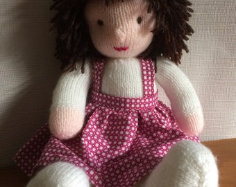 hand knitted doll, knitted rag doll, rag doll, knitted doll with dress, knitted doll