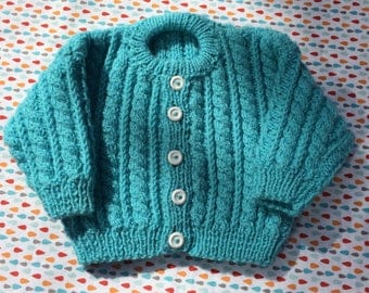 Baby cardigan, baby sweater, hand knitted baby cardigan, hand knitted baby sweater, turquoise coloured baby cardigan, 0-3 months