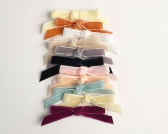 S A L E Velvet Knot Bow on Nylon Headband or Clip for Baby/Toddler Girls