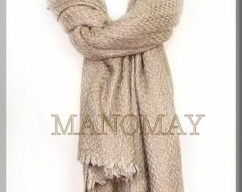 Handmade Nepalese Cashmere thick Scarf-Light Beige