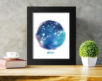 Zodiac Pisces Printable Art, Star Sign, Pisces Constellation Zodiac Wall Art Download