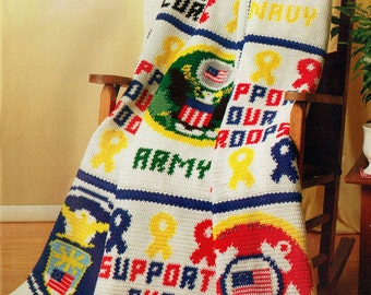 Patriotic Military Afghan Crochet Pattern, American 'A Salute to Our Soldiers' Freedom Home Decor, Throw, Keepsake, Political, Heirloom