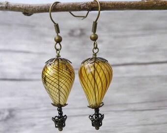 Hot Air Balloon Earrings Dangle Earrings Brown beads Earrings Brown Earrings Vintage Earrings Statement Earrings Boho Earring Jewelry ED-006