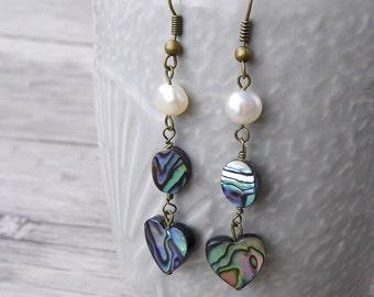 Abalone Earrings Abalone Shell Earrings Heart Earrings Bead drop earrings BOHO Dangle Earrings Shell bead Earrings Abalone Earrings ED-023
