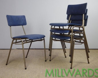 Vintage Stacking Industrial Remploy School Cafe Bar Chairs