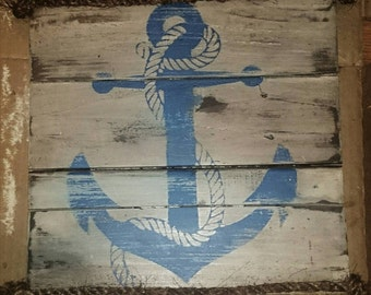 Rustic beach house anchor wood sign, distressed anchor