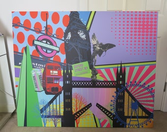 CUSTOM SIZE/CITY city pop art on canvas, London, Singapore etc.