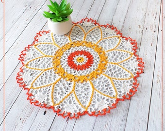 "Crochet doily in white and orange tones, lace crochet doily 13,77"" , green doily"