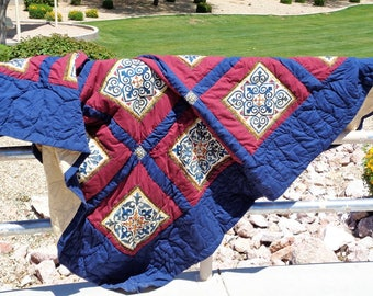 Red and Blue Tiles Quilt