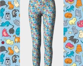 30% OFF Kitten Leggings, High Waisted Cat Leggings, Kitten Pants, Kitten Yoga Pants, Cat Lover Gift, Printed Leggings, Kitten Lover Gift