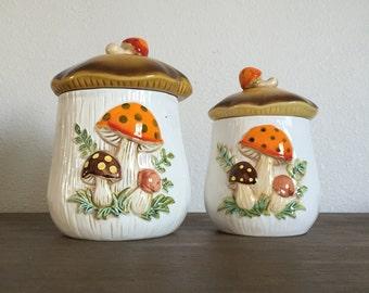 Vintage Sears Roebuck & Co Merry Mushroom Ceramic Canister Set; Mushroom Canisters; Kitchen Canisters; Cookie Jars; Mushroom Decor