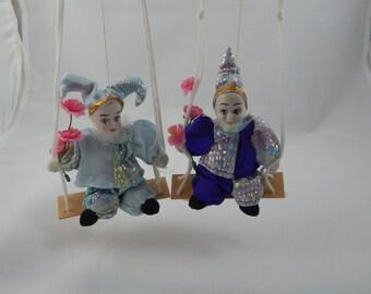 Vintage Marionette Dolls Ceramic Heads Pair