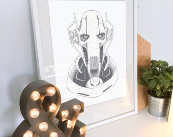 Star Wars General Grievous - Wall Decor - Artwork- Painting - Illustration - Home Decor - Kids Decor - Nursery Decor