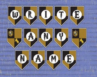 Hufflepuff Printable Birthday Banner, Harry Potter, Hufflepuff Colours, Hogwarts Inspired, Customise your own Birthday Banner,